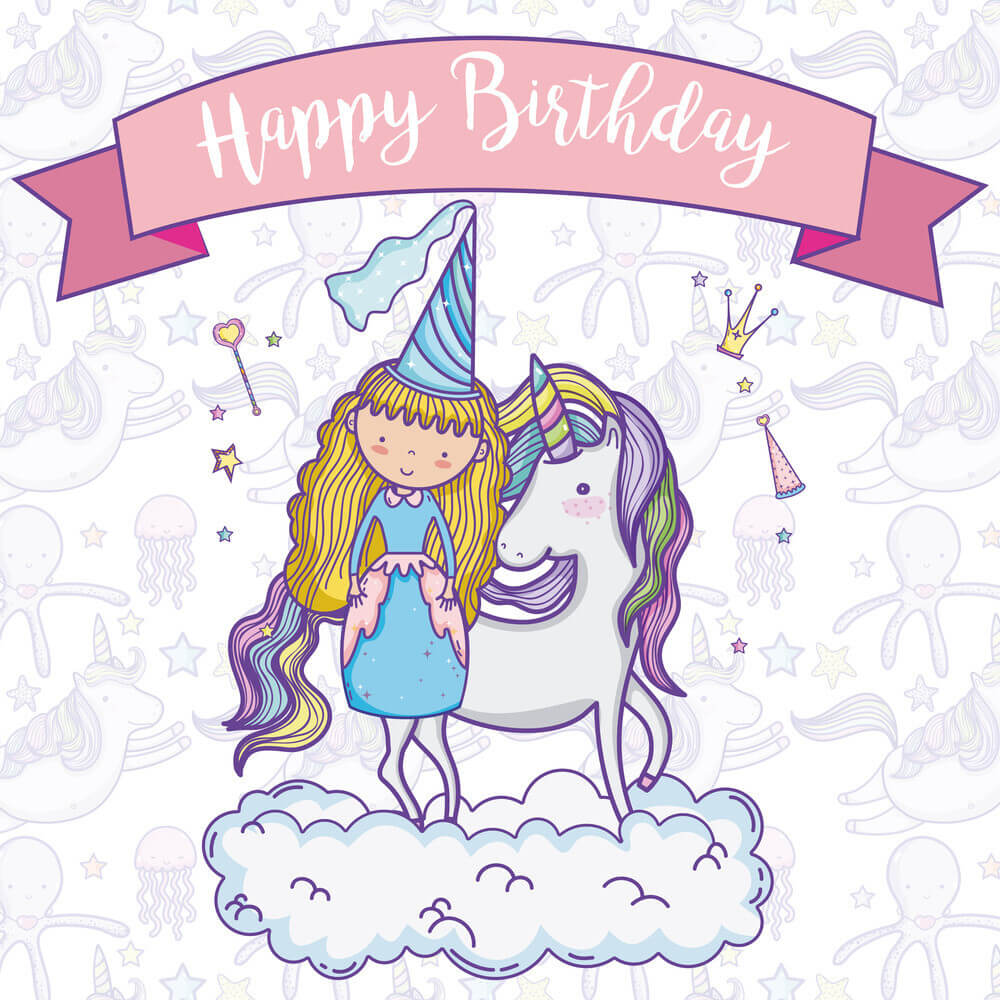 Happy Birthday Princess with Unicorn